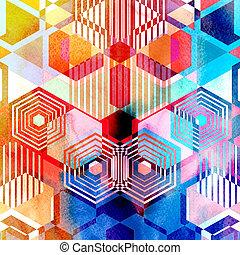 背景, 水彩画, 抽象的, 幾何学的