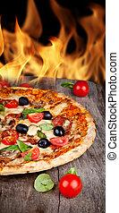 背景, 炎, 木製である, おいしい, サービスされた, テーブル, ピザ, イタリア語