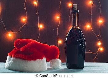 背景, 燃燒, 光, 自制, 桌子, 聖誕節, 酒