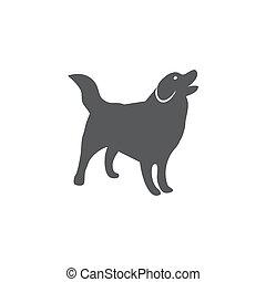 背景, 狗, 白色, 图标