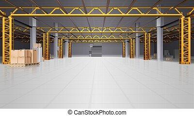 背景, 現実的, 倉庫