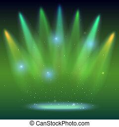 背景, 由于, 光的光線, 上色, 聚光燈, 由于, 被模糊不清, rays., 明亮, 點燃, 著色, 聚光燈, 放映機, beams., 發光, 場景, 闡明, 產生, 上, 黑暗, 背景