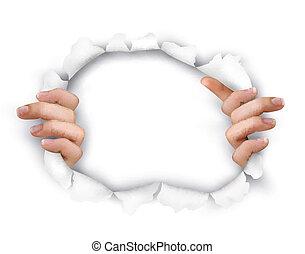 背景, 由于, 手, 顯示, 槽, a, 洞, ......的, 在, 白色, paper., vector.