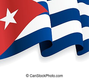 背景, 由于, 招手, 古巴人, flag., 矢量