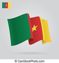 背景, 由于, 招手, 喀麥隆, flag., 矢量
