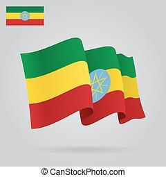 背景, 由于, 招手, 埃塞俄比亞人, flag., 矢量