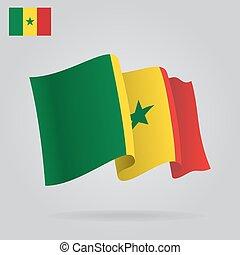 背景, 由于, 招手, 塞內加爾, flag., 矢量