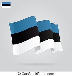 背景, 由于, 招手, 愛沙尼亞語, flag., 矢量