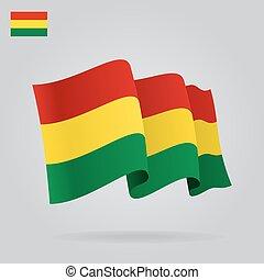 背景, 由于, 招手, 玻利維亞, flag., 矢量
