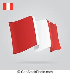背景, 由于, 招手, 秘魯人, flag., 矢量