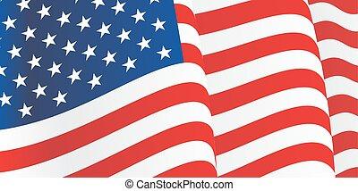 背景, 由于, 招手, 美國人, flag., 矢量