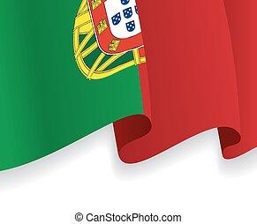 背景, 由于, 招手, 葡萄牙語, flag., 矢量