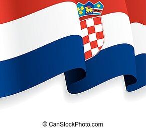 背景, 由于, 招手, croatian, flag., 矢量