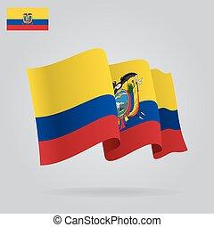 背景, 由于, 招手, ecuadorian, flag., 矢量