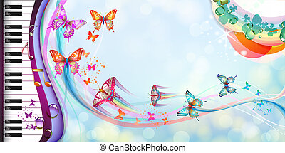 背景, 由于, 蝴蝶