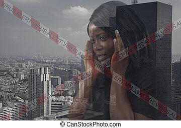 背景。, 病毒, 警报, pandemic., exposure., 城市, 着重强调, 手, 双, 握住, coronavirus, 头, 妇女, 摘要