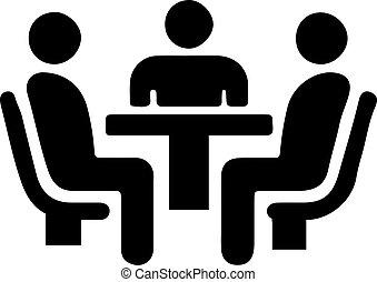 背景, 白色, 会议, 隔离, 图标