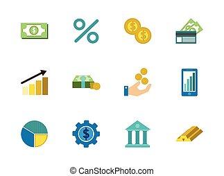 背景, 白, アイコン, 金融, ビジネス, セット