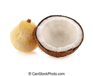 背景, 白, ココナッツ, 隔離された