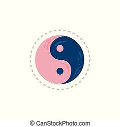 背景, 白, ピンク, 青, シンボル, yin, 隔離された, yang