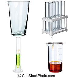 背景, 白, 実験室 ガラス製品, コラージュ