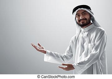 背景, 白, 若い, 隔離された, 肖像画, アラビア人, 人