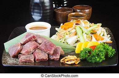 背景, 立方体, cuisine., 日本語, 牛肉