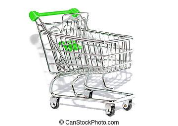 背景, 緑, 買い物カート, 白