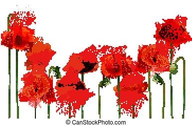 背景, 美しい, 抽象的, ケシ, 赤, vector., flowers.
