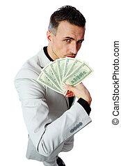 背景, 美元, 隔离, 我们, 充满信心, 握住, 商人, 白色