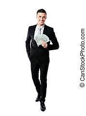 背景, 美元, 隔离, 我们, 握住, 充足长度, 肖像, 商人, 微笑, 白色