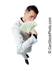 背景, 美元, 隔离, 我们, 握住, 充足长度, 肖像, 商人, 白色