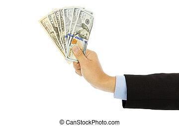 背景, 美元, 隔离, 我们, 握住, 商人, 白色