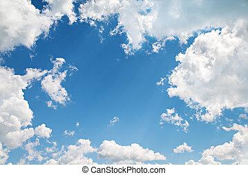 背景。, 美麗, 藍色的天空, 由于, 云霧