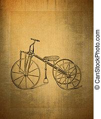 背景, 自転車, 古い, グランジ