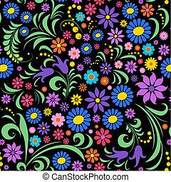 背景, 花, 黑色, 鮮艷
