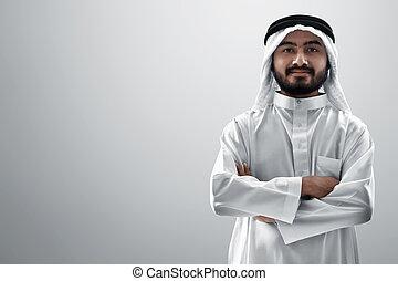 背景, 若者, 隔離された, 肖像画, 白, アラビア人