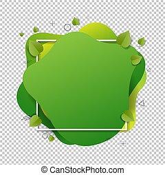 背景, 葉, 泡, スピーチ, 緑, 隔離された, 透明