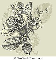 背景, 蝶, 花