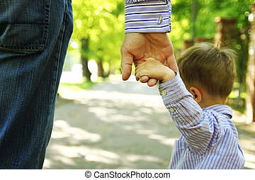背景, 親, 子供, 手の 保有物, 幸せ