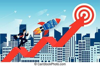 背景, 赤, growth., city., 行きなさい, 財政, ベクトル, 創造的, 成功, ビジネス, leadership., ロケット, ビジネスマン, ゴール, 努力, idea., ターゲット, 競争, arrow., イラスト
