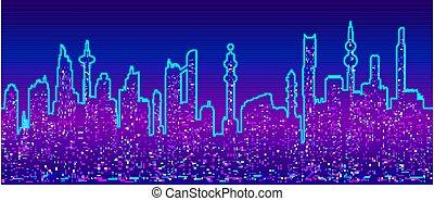 背景, 都市の景観, cyberpunk