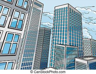 背景, 都市, 建物