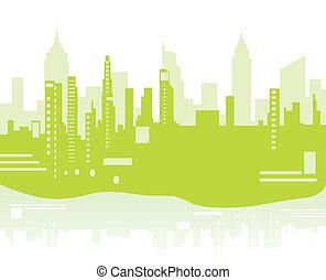 背景, 都市, 緑