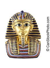 背景, 金, tutankhamun, 隔離された, 像, 白