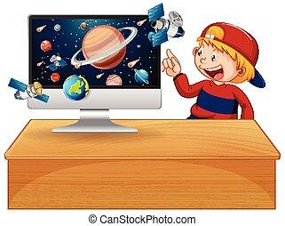 背景, 銀河, コンピュータ・スクリーン