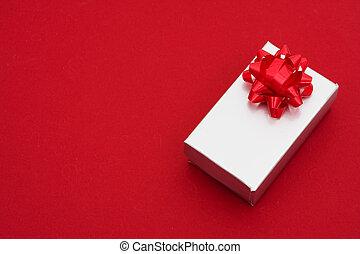 背景, 銀, 弓, 紅色, 禮物