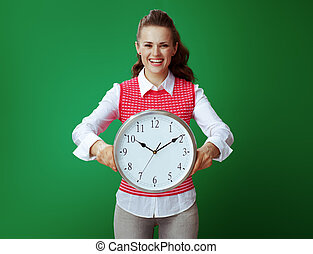 背景, 鐘, 顯示, 被隔离, 綠色, 學生, 白色, 輪