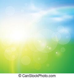 背景, 陽光普照, 綠色
