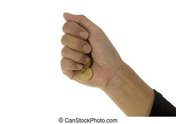 背景, 隔離された, に対して, 手, 女性, 白, コイン